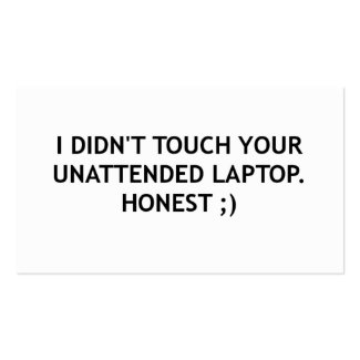 Unattended Laptop Warning Card Pack Of Standard Business Cards