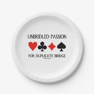 Unbridled Passion For Duplicate Bridge Card Suits Paper Plate