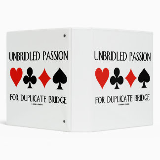 Unbridled Passion For Duplicate Bridge Card Suits Vinyl Binders