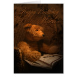 Uncle Birthday Card With Teddy Bear Reading A Book