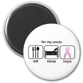 Uncle Eat Sleep Hope - Breast Cancer 2 Inch Round Magnet
