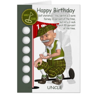 Uncle Golfer Birthday Greeting Card With Humor