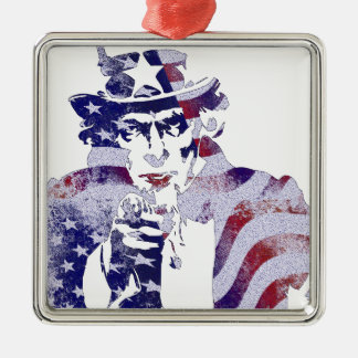 Uncle Sam America USA National Flag Independence D Silver-Colored Square Ornament