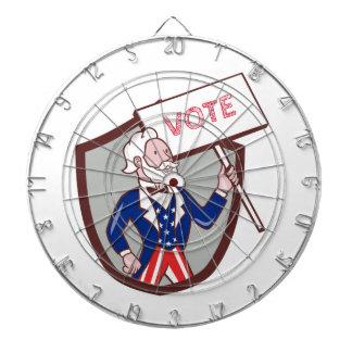 Uncle Sam American Placard Vote Crest Cartoon Dartboard With Darts