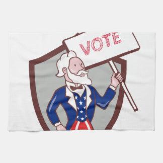 Uncle Sam American Placard Vote Crest Cartoon Kitchen Towel