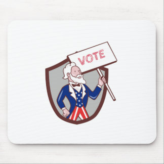 Uncle Sam American Placard Vote Crest Cartoon Mouse Pad