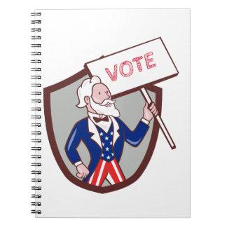 Uncle Sam American Placard Vote Crest Cartoon Notebook