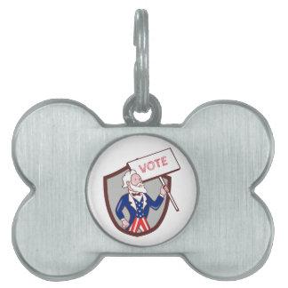 Uncle Sam American Placard Vote Crest Cartoon Pet Name Tag