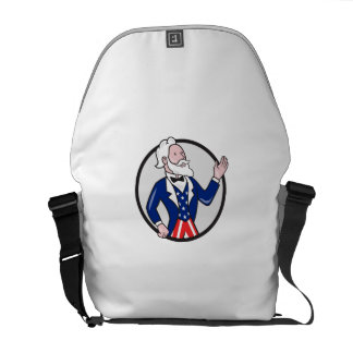Uncle Sam American Waving Hand Circle Cartoon Commuter Bag