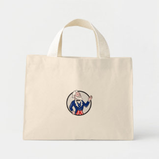 Uncle Sam American Waving Hand Circle Cartoon Mini Tote Bag