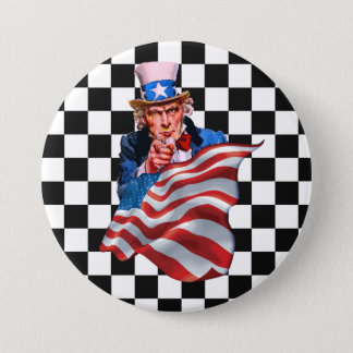 Uncle Sam and American flag 3 Inch Round Button