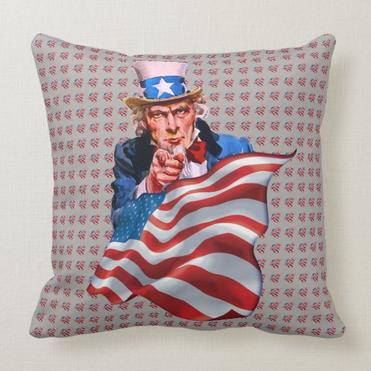 Uncle Sam and American flag Throw Pillow