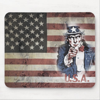 Uncle Sam and USA Flag Mouse Pad