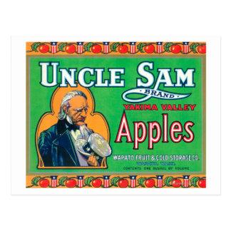 Uncle Sam Apple Label (green) - Wapato, WA Postcard
