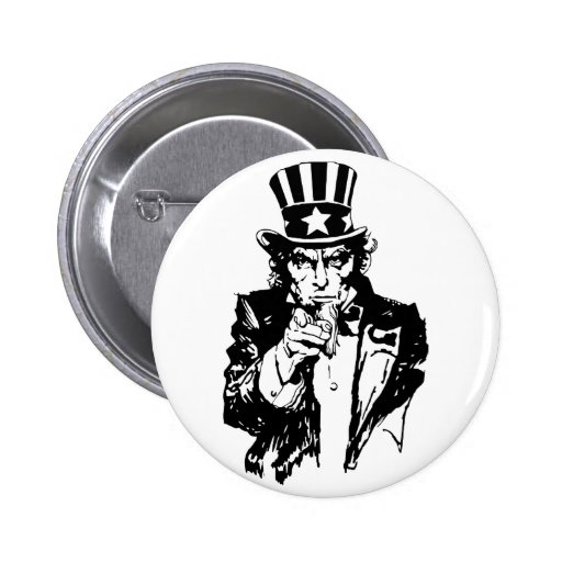 Uncle Sam B&W Pinback Buttons