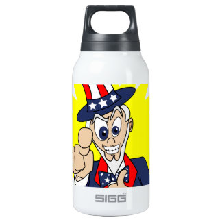 Uncle Sam Cartoon Insulated Water Bottle