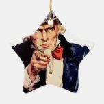 Uncle Sam Ceramic Star Ornament