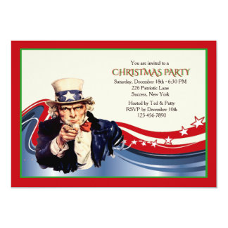 Uncle Sam Christmas Party Invitation
