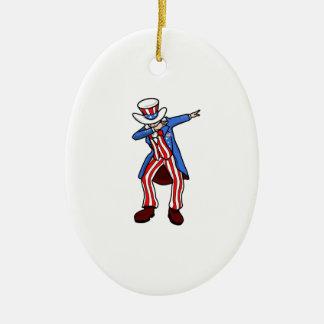 Uncle Sam Dab Ceramic Ornament