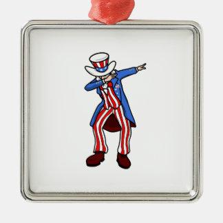Uncle Sam Dab Metal Ornament