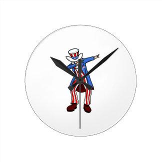 Uncle Sam Dab Round Clock