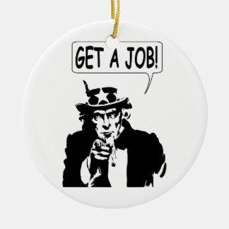 Uncle Sam Get A Job Large Version Ceramic Ornament