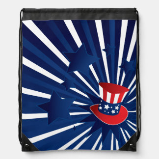 Uncle Sam hat and stars Drawstring Bag