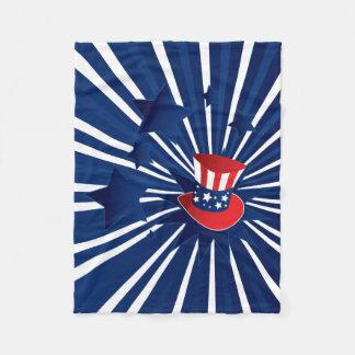 Uncle Sam hat and stars Fleece Blanket