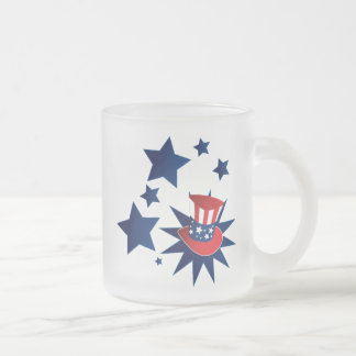 Uncle Sam hat and stars Frosted Glass Coffee Mug