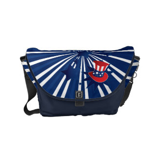 Uncle Sam hat and stars Messenger Bag