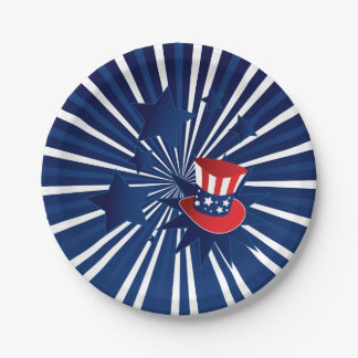 Uncle Sam hat and stars Paper Plate