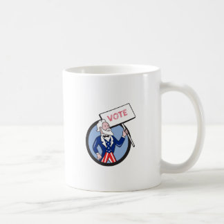 Uncle Sam Holding Placard Vote Circle Cartoon Coffee Mug