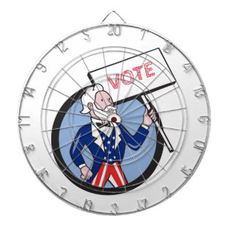 Uncle Sam Holding Placard Vote Circle Cartoon Dart Board