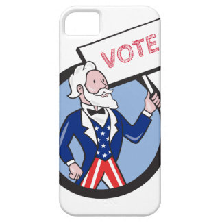 Uncle Sam Holding Placard Vote Circle Cartoon iPhone 5 Cases