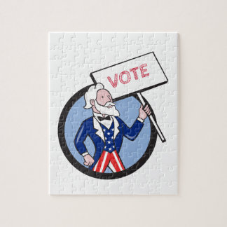 Uncle Sam Holding Placard Vote Circle Cartoon Jigsaw Puzzle