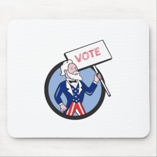 Uncle Sam Holding Placard Vote Circle Cartoon Mouse Pad