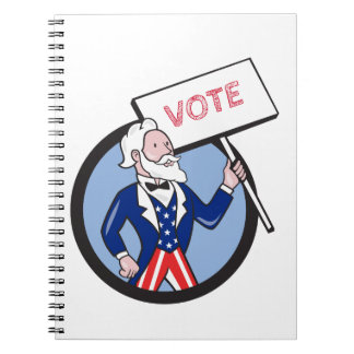 Uncle Sam Holding Placard Vote Circle Cartoon Note Book