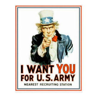 Uncle Sam I Want You Army Postcard