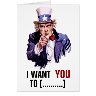 "Uncle Sam ""I Want You"" Customizable Card"