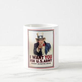 Uncle Sam I Want You For US Army Basic White Mug