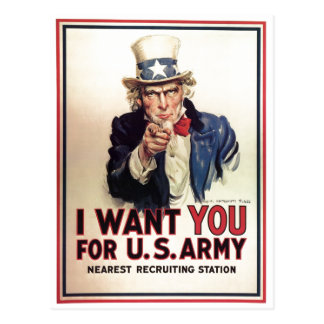 Uncle Sam I Want You For US Army Postcard