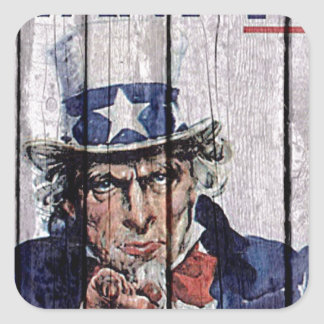 """Uncle Sam """"I Want you"""" Square Stickers"""