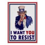 Uncle Sam   I Want You To Resist Poster