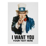 Uncle Sam I Want You Vintage Poster