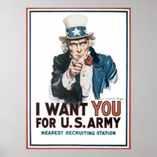 Uncle Sam I Want You Vintage Print