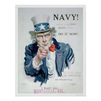 Uncle Sam is Calling You!  Enlist Navy (US02148B) Poster