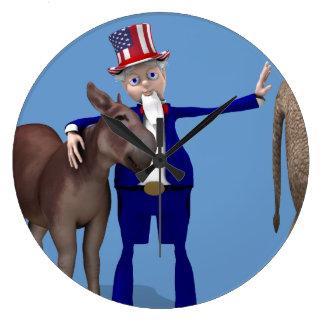 Uncle Sam Loves Donkeys Wall Clock