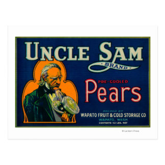 Uncle Sam Pear Crate LabelWapato, WA Postcard