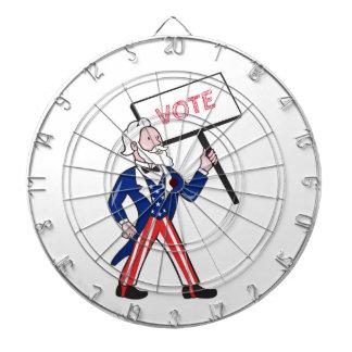 Uncle Sam Placard Vote Standing Cartoon Dartboard With Darts