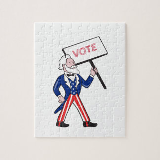Uncle Sam Placard Vote Standing Cartoon Jigsaw Puzzle